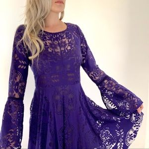 Free People Lace Flare Sleeve Cut Out Back Dress